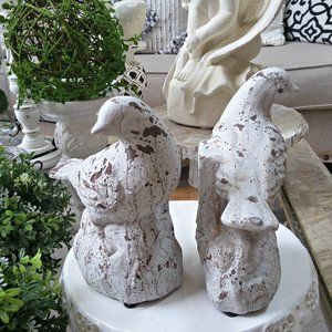 NEW! CHIPPY Shabby COTTAGE Bird BOOK ENDS